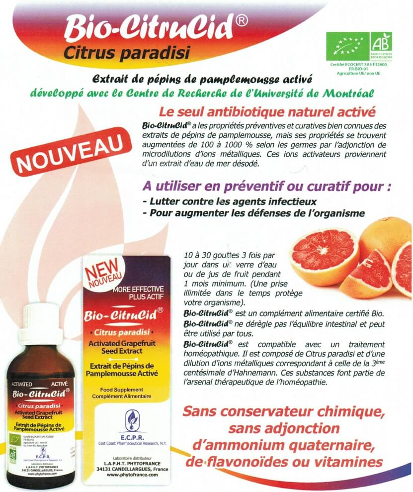le bio-citrucid l'antibiotique naturel à la pointe de la technologie